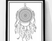 Dream Catcher Coloring Page, Adult Coloring Page. Instant Digital Download, Digital Digi Stamps, Mandala Coloring Page