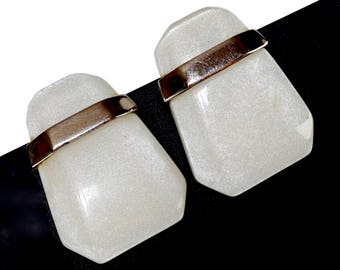 KUNIO MATSUMOTO Vintage Trifari Earrings,High End Collectible Jewelry,Off White Lucite Earrings with Posts,Designer Bridal Wedding Jewelry