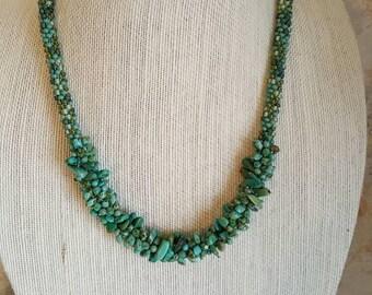 Turquoise Beaded Kumihimo Necklace