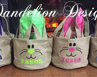 Personalized Easter Basket Burlap Bunny Face Rabbit Easter Egg Baby Purple Girl's