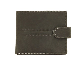Mens Wallet Black Genuine Leather Handmade Sirocco-4101