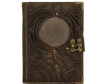 Tribal Flower Circle Pendant on a Green Refillable Leather Journal / Notebook / Handmade