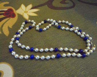 Vintage Napier White/Blue Beaded Necklace with Gold Accents