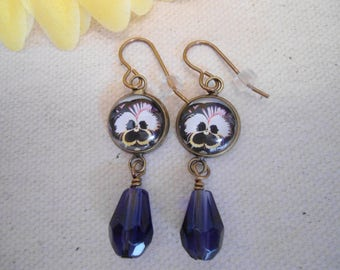 Dark purple blue pansy  glass cabochon antique brass faceted glass earrings with Vintaj brand earring hooks nickel and lead free!