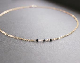 Black Spinel Choker Necklace - gold necklace, gold choker necklace, gold filled choker, gold filled necklace, dainty choker necklace