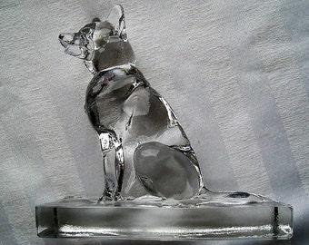 German Shepherd Figurine|Clear Glass German Shepherd|Vintage Figurine|Police Dog|Collectible Glass German Shepherd|Glass Art