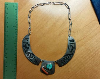 Hopi Sterling Inlay Turquoise and Coral Necklace Signed CK