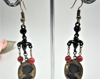 Vintage black glass red beads and brass earrings