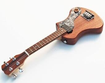 HiGuitarsUK Merlin Extended Scale Steel Stringed Electric Soprano Ukulele/Mandolin. DiMarzio Humbucker Pickup. Stainless St'l Bridge Saddles