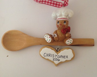 Gingerbread Baking Personalized Christmas Ornament