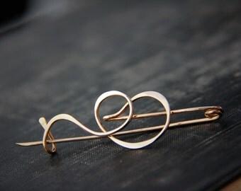 Modern, minimalist abstract brushstroke shawl pin, #1, scarf pin, sweater pin, brooch, bronze or German silver, elegant pin, calligraphy