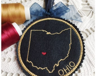 I Heart Ohio Coaster and Ornament Machine Embroidery Design Instant Download I Love Ohio with Positionable Heart