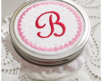 Valentine Mason Jar Lid Alphabet Set Machine Embroidery Designs in pes, dst, exp, vip, jef, hus and vp3 Formats - Instant Download
