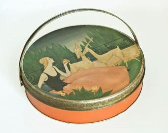 Vintage Loose-Wiles Biscuit Company Cracker Tin, Sunshine Biscuit Tin Storage Box with Woman and Gazelle Lithograph, Grocery Store Prop