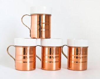 Vintage Baker Hart & Stuart Copper Ceramic Coffee Mugs, Set of 4 Copper Cups