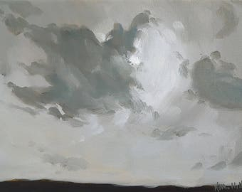 Gray Sky in Early Spring Morning- Original Landscape Oil Painting- Impressionist Minimalist Monochromatic Black and White Art Small Painting