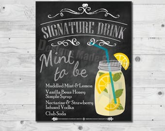 Mint to Be Signature Drink Wedding Sign - Printables - Instant Download