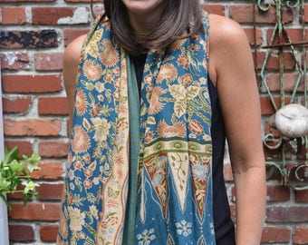 Vintage Indian blue floral print cotton wrap scarf