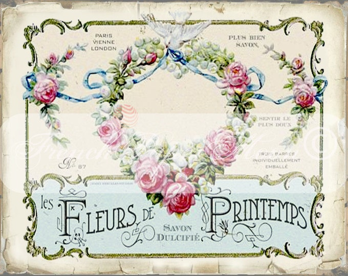 Vintage Digital French Perfume Label, Antique French Perfume Collage Sheet, French Perfume Pillow Transfer Image