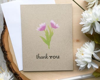 Handmade Thank You Card, Thank You Cards, Thank You, Thanks, Thanks Card, Flower Thank You Card, Greeting Cards