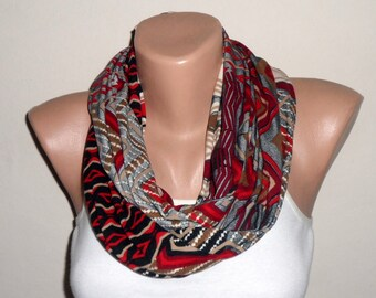 black red brown infinity scarf combed cotton loop scarf trendy scarf women scarf turkish scarf
