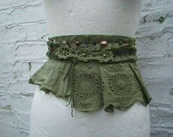 Green Upcycled Sash Belt Beaded Hand dyed Eco Recycled Tattered Fairy Mori Girl Woodland Bohemian Fashion