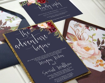 Navy and Marsala Wedding Invitation Suite