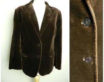 70s COTTON velvet chocolate brown blazer jacket u.k. 14 - 16 M L
