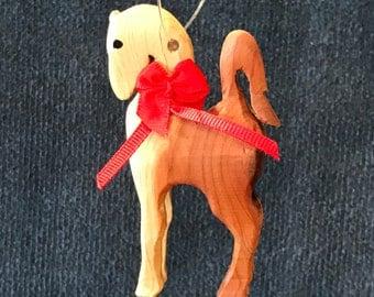 Wood Pretty Horse Christmas Tree Ornament