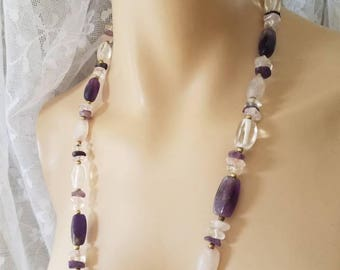 "Vintage Amethyst Rose Quartz Beaded Necklace - Gemstone Necklace - Purple Amethyst Jewelry - 30"" LONG"