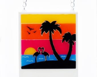 Sunset in paradise poleroid necklace