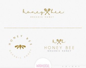 honey and bee natural logo -Premade honey Logo and Watermark, Classic Elegant Script Font GOLD GLITTER butterfly organic Calligraphy