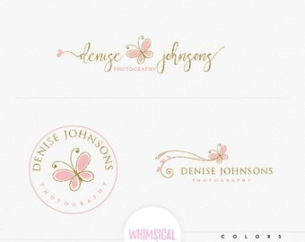 whimsical butterfly 5 -Premade Photography Logo and Watermark, Classic Elegant Script Font GOLD GLITTER butterfly children Calligraphy