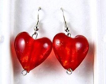 Red Earrings, Red Dangle Earrings, Red Heart Earrings, Red Earrings Hearts