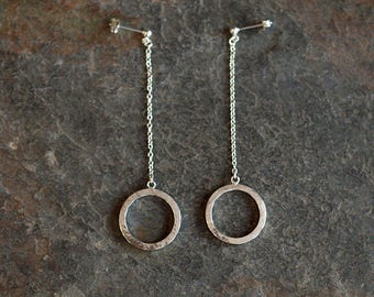 Circle Earrings, Sterling Silver Long Hoop Drop Earring, Minimalist Gift For Her