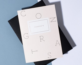 Congrats Type Card - Ebony Envelope