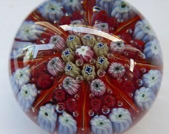 Beautiful VASART Scottish Glass Paperweight with 8 Spokes; with red ground ground, latticino canes & millefiori