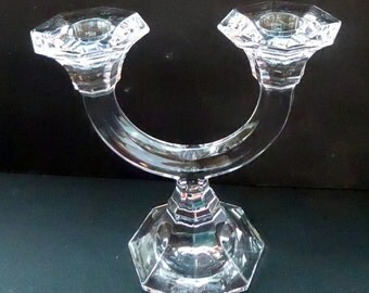 Top Quality VILLEROY AND BOCH Crystal Twin Branch Arched Candlestick. Inscribed on the base