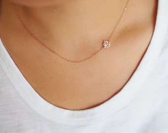 Rose Gold Necklace, Rose Gold Lotus Necklace, Sideways Lotus Necklace, Gift for Her