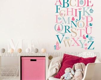 Alphabet Nursery Wall Decal - Playroom Wall Decal - Educational Wall Decal - Play Room Wall Decal - Custom Decal Wall Graphics - 01-0001