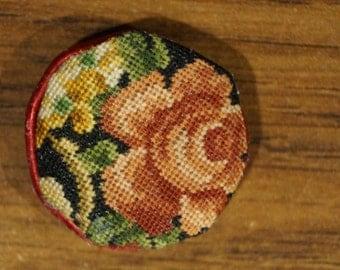 SALE! Dollhouse Miniature Petit Point Pillow--Round Rose