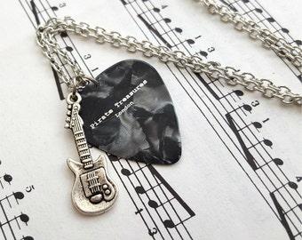 Plectrum & guitar necklace - guitar charm - guitar pick - silver - singer musician jewellery