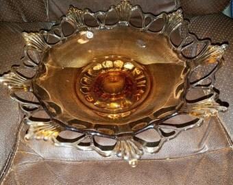 Vintage Westmoreland Amber Ring & Petal Footed Centerpiece Bowl