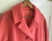 Vintage hot pink salmon boucle SPRING coat 1960s mod style women's XL or 14 16