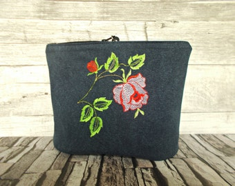 Bridesmaid clutch, Makeup, Womens cosmetic bag, Flowers, Embroidery, Toiletry pouch, Floral, Canvas, Zippered case, Nail polish,Brush case
