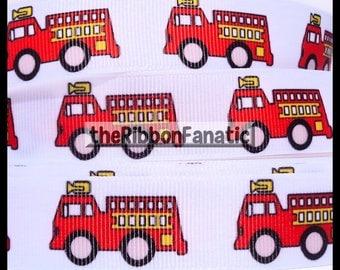 """5 yds 7/8"""" Fire Trucks Fireman Firefighter Red White Grosgrain Ribbon"""