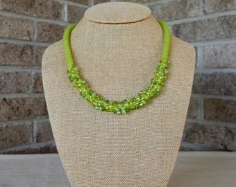 Lime Green Kumihimo Necklace with earrings