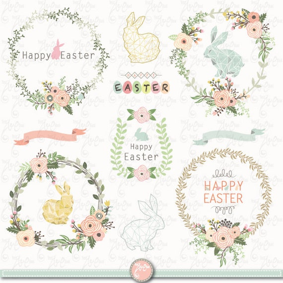 Easter Clip Art EASTER BUNNY WREATH Easter Bunny Vintage