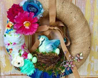 Summer wreath; Bird wreath; Spring wreath; Easter wreath; Mothers Day gift; Upcycled ornament wreath; Flower wreath; Jewelry Wreath
