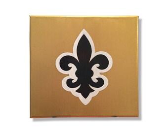 """New Orleans themed 8""""x8"""" Saints Fleur de Lis Paintings, Gold Painting, Black Painting, Gold, Black, White, Small Painting, Decorative"""